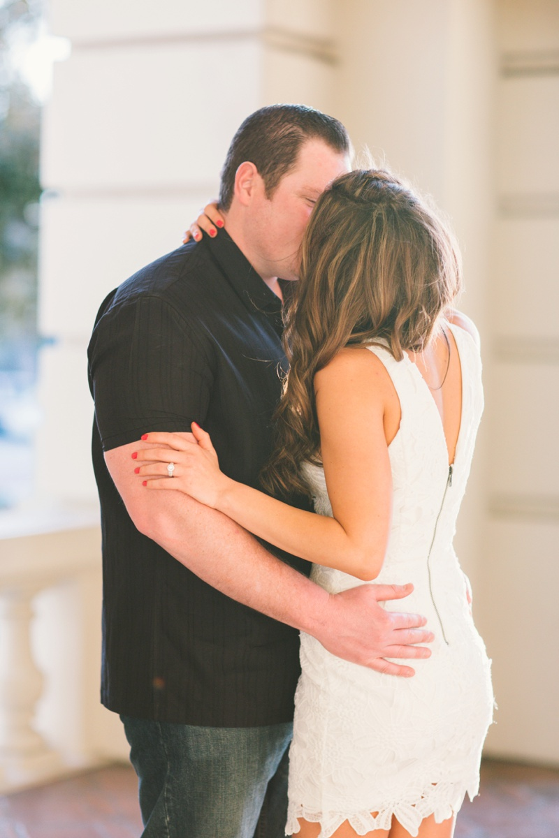 pasadena city hall engagement session short white low back dress photo