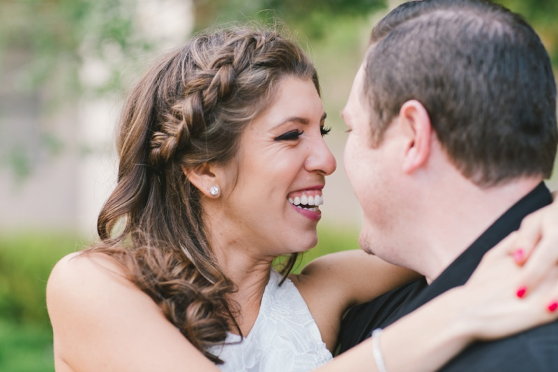 romantic couple side braid bride engagement photo