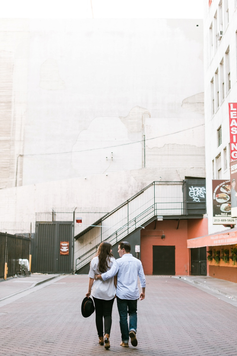 downtown los angeles urban romantic engagement session photo