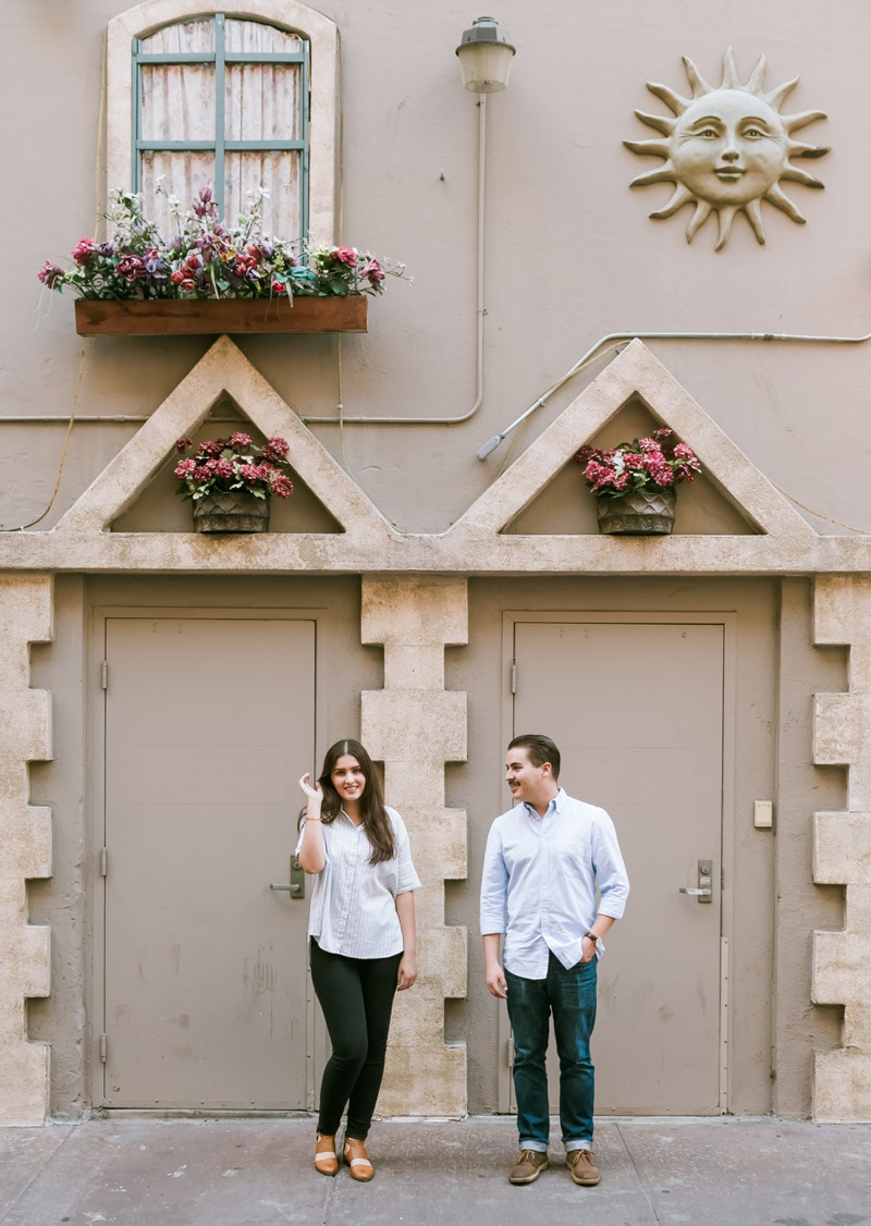cool engagement photo in downtown los angeles california photo