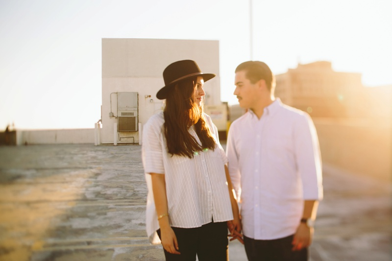 creative engagement session downtown los angeles rooftop sunset photo