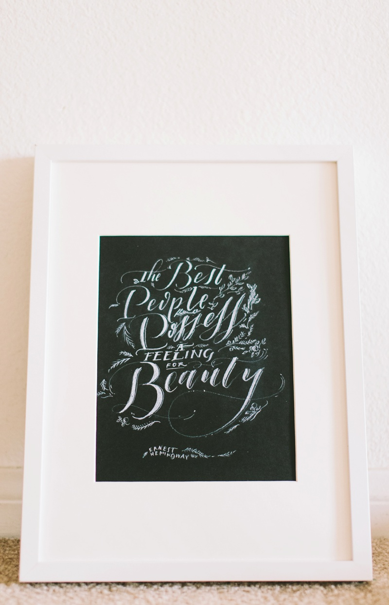 ernest hemingway wedding calligraphy quote photo