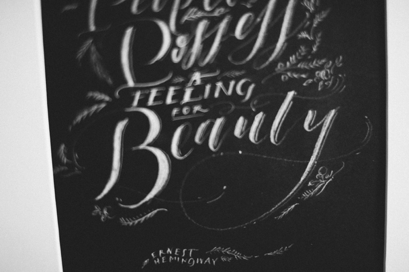 black and white chalkboard wedding calligraphy photo