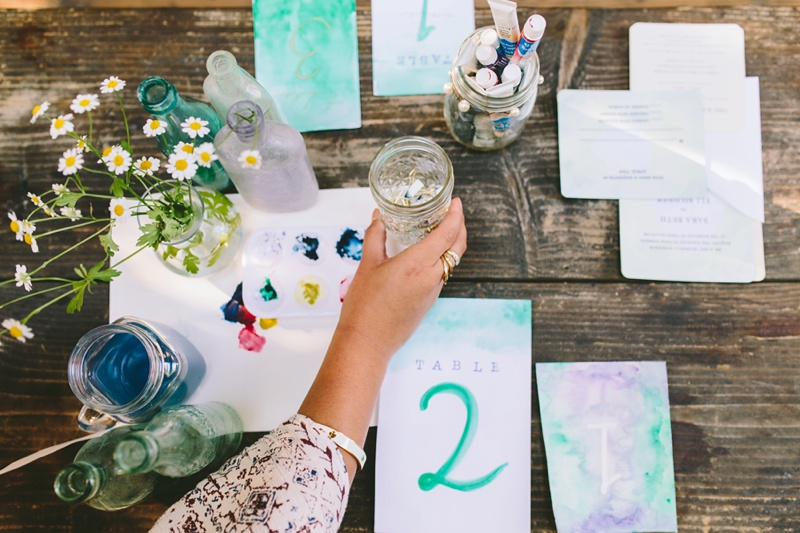 watercolor wedding inspiration decor table setup photo
