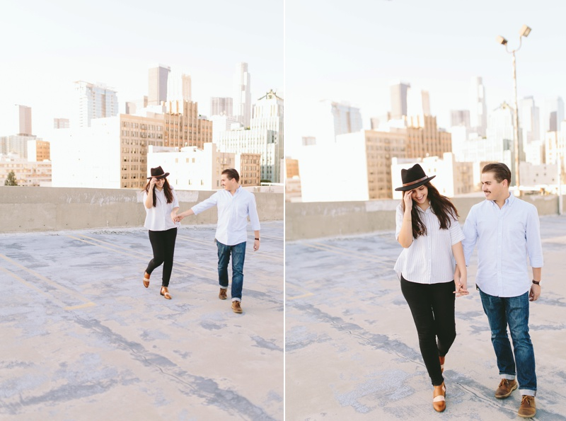los angeles urban modern romantic rooftop engagement session photo