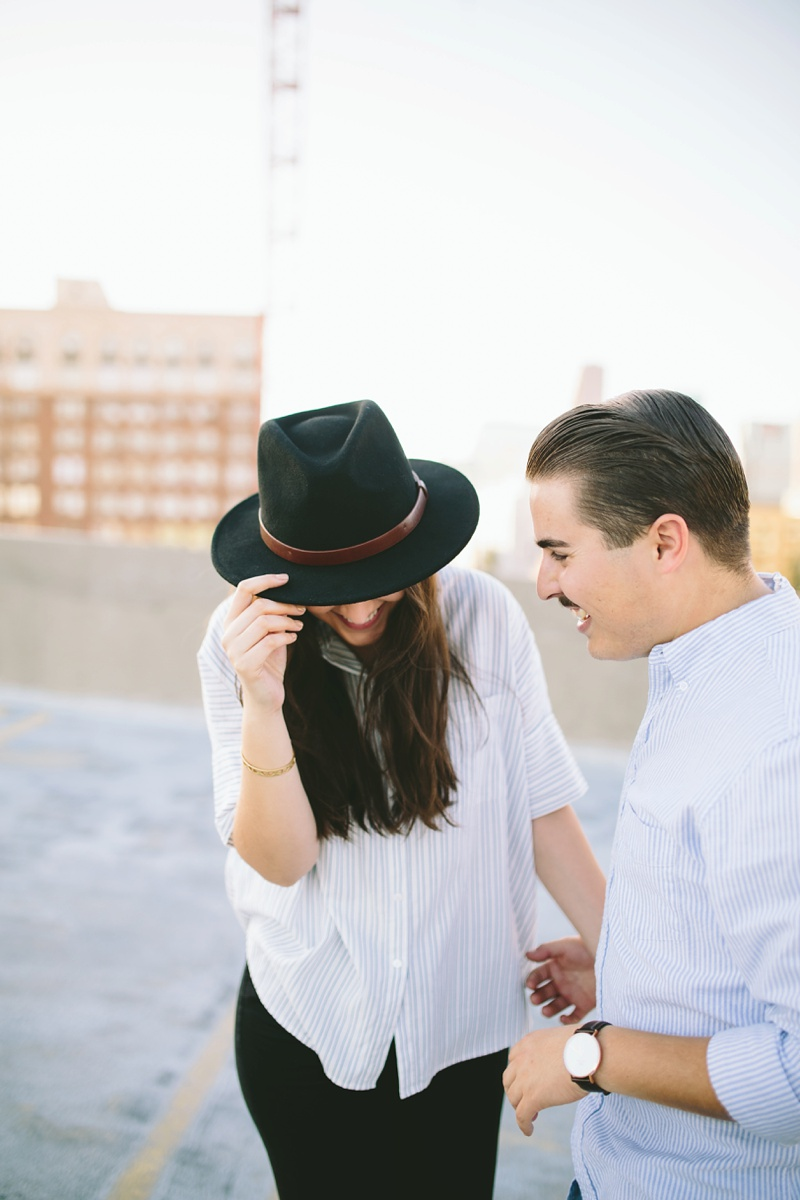 romantic downtown engagement session photo