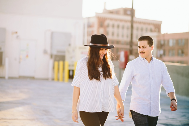 romantic southern california rooftop engagement session photo