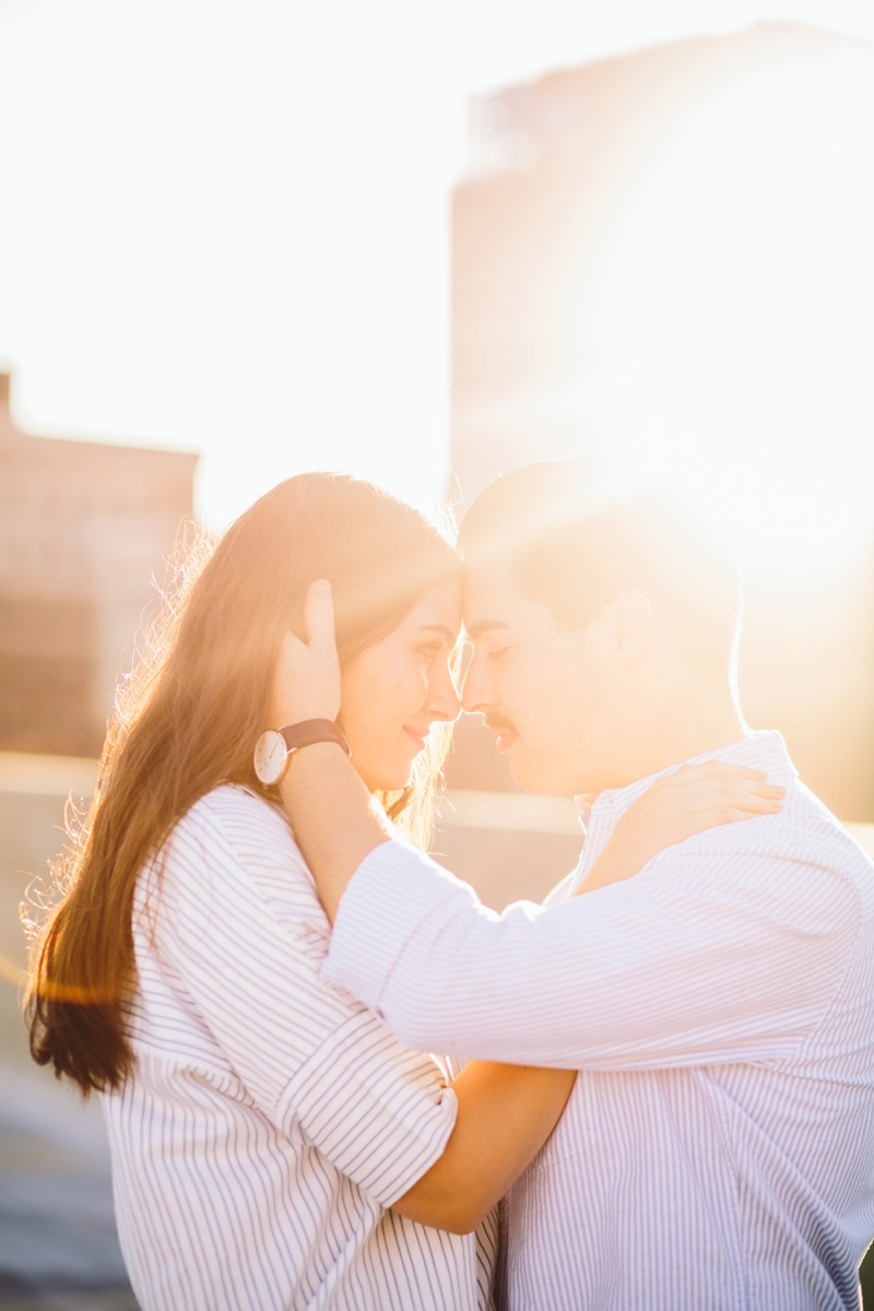 sunset rooftop wedding photo