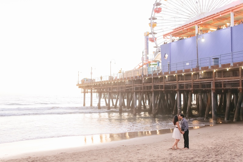 santa monica pier engagement session photo
