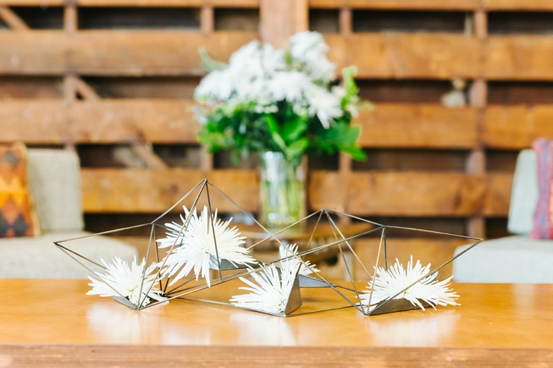 mid century modern wedding reception decor photo